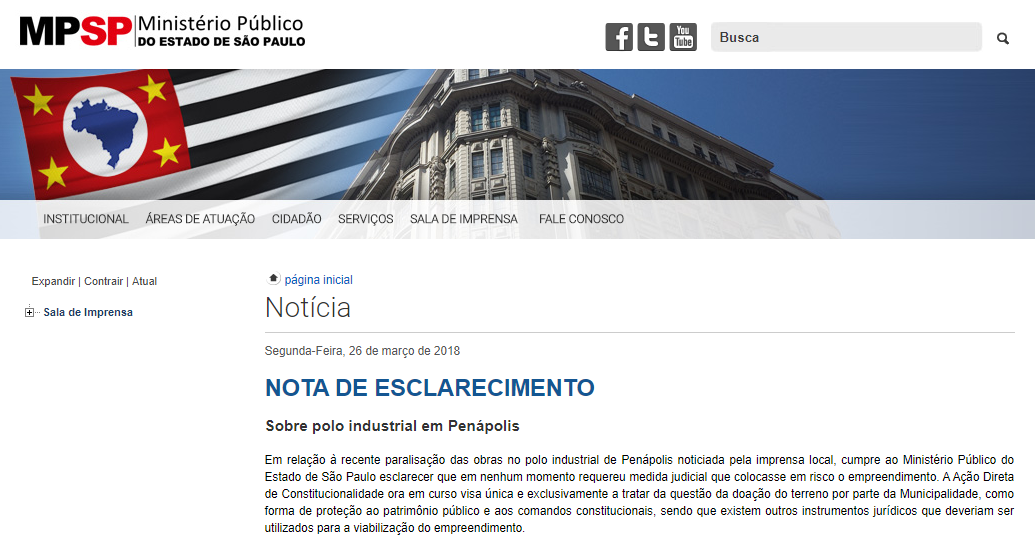 MP emite nota de esclarecimentosobre paralisação das obras da Bonolat