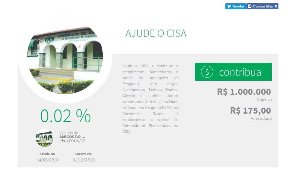 """Amigos do CISA criam """"vaquinha"""" online para doações em dinheiro"""