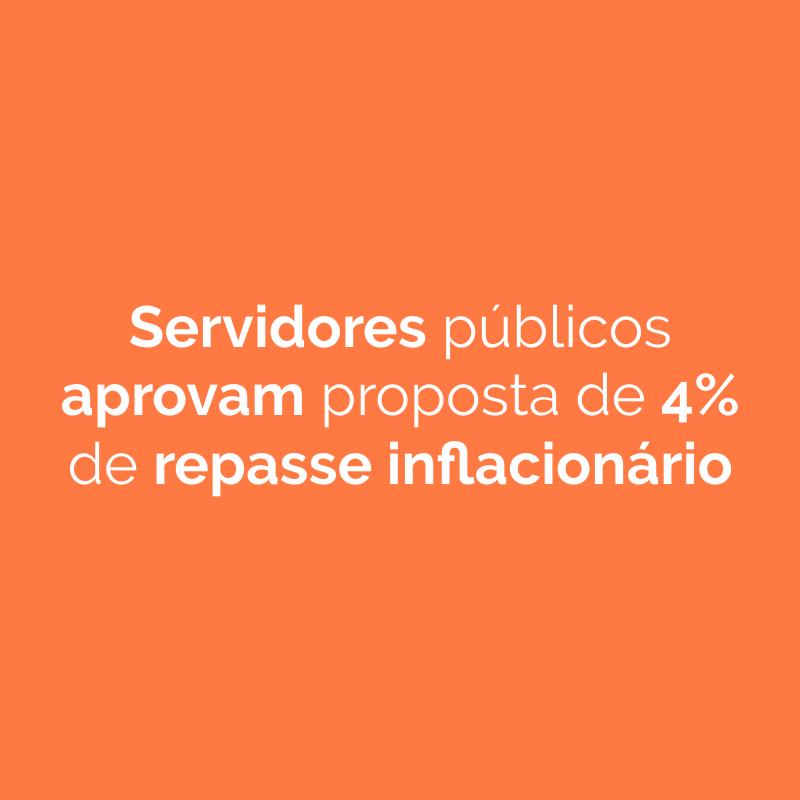 Servidores públicos aprovam proposta de 4% de repasse inflacionário