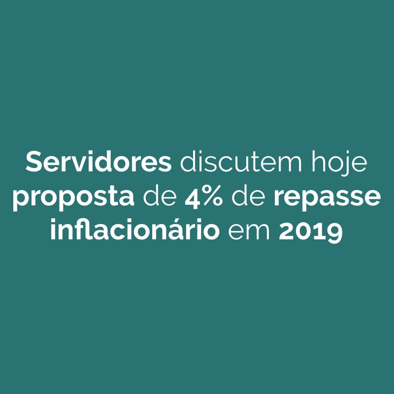 Servidores discutem hoje proposta de 4% de repasse inflacionário em 2019