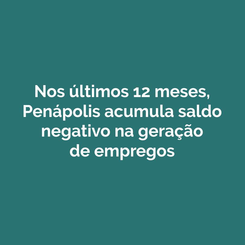 Nos últimos 12 meses, Penápolis acumula saldo negativo na geração de empregos
